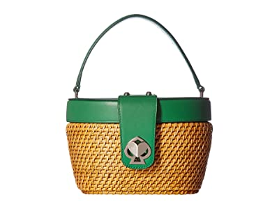 Kate Spade New York Rose Medium Top-Handle Basket (Green Bean) Handbags