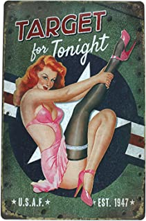 ARTCLUB TARGET for Tonight Pin-up Girl, Metal Retro Tin Sign, Antique Plaque Poster Living Room Bar Pub Home Wall Decor