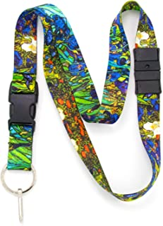 Buttonsmith Van Gogh Irises Breakaway Lanyard - with Buckle and Flat Ring - Made in The USA