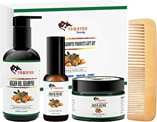 Argan Oil Hair Growth Products Set w/Hair Shampoo,Hair Mask Conditioner,Morocco Argan Oil,Wood Comb,100% Organic Natural Vegan Hair Care Treatment Valentines Gifts for Women/Mom,Repair Damage&Dry Hair
