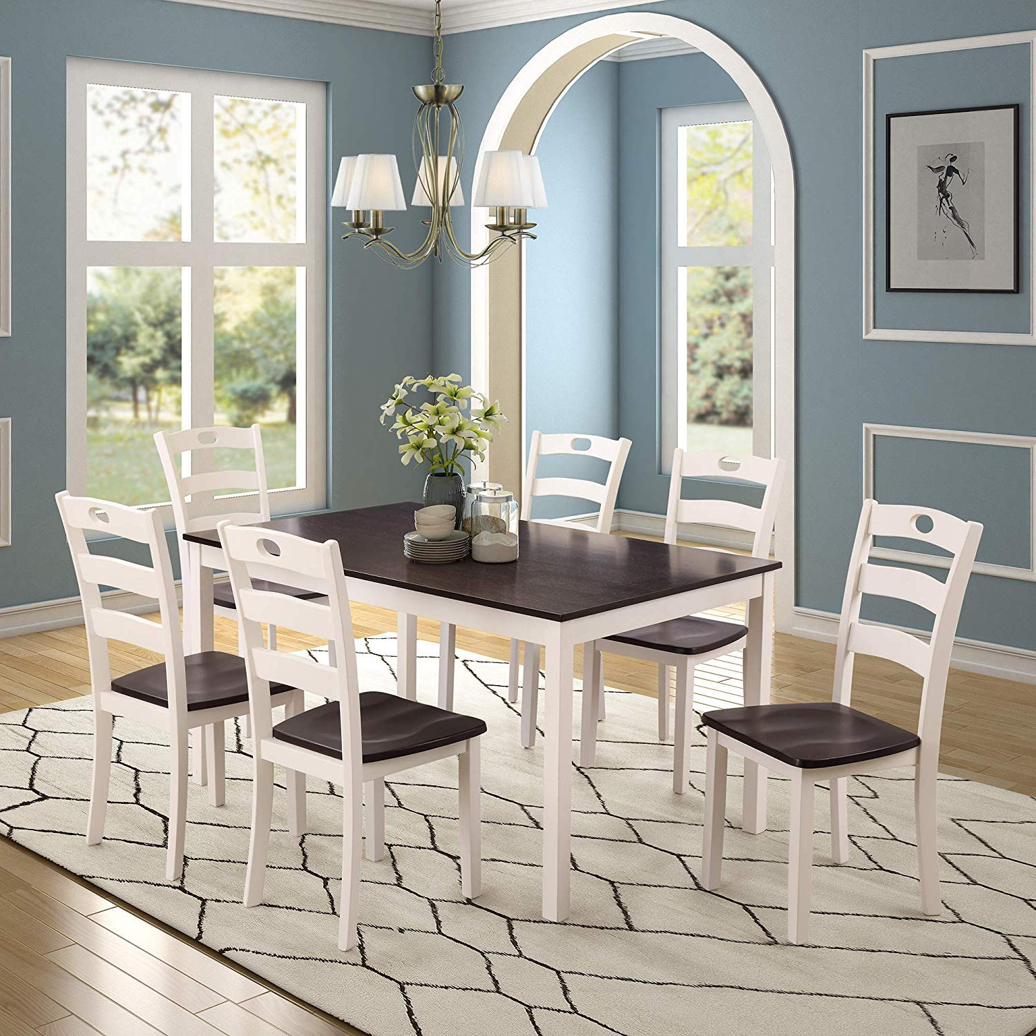 Merax Dining Table Set for 9, Kitchen Table Sets Wood Dining Table with 9  Chairs and Exquisite Dining Room Furniture (White)
