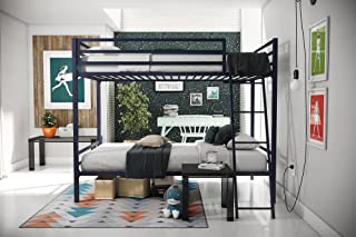 Novogratz Maxwell Twin/Twin Metal Bunk Bed, Sturdy Metal Frame with Ladder and Safety Rails, Navy Blue