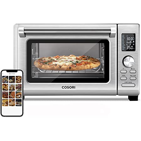 COSORI CS125 Air Fryer Toaster Oven Combo 11-in-1 Countertop Dehydrator for Chicken, Pizza and Cookies, 30 Recipes & 4 Accessories Included, Work with Alexa, 25L, WIFI-Silver