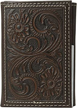 Floral Embossed Trifold Wallet
