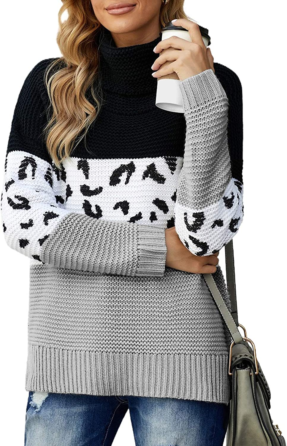 BLENCOT Womens Casual Turtleneck Sweater Tops Long Sleeve Pullover Knit Sweaters