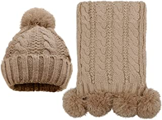 Women's Scarf and Hat 2pcs Set Knitted Warm Skullcaps Thicken Beanie Cap