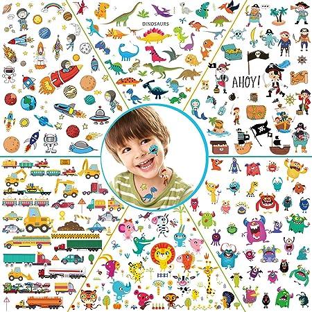 Konsait 278pcs Tatuajes temporales para niños, 6 Series Falsos Tatuajes para niños, Piratas, Monstruos, Animales, Espacio, Dinosaurios, Fiestas Infantiles cumpleaños niños Regalo Navidad piñata