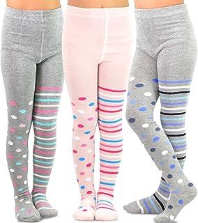 Girls x3 Cotton Rich Tights Grey 2-3 Years Comfort Waistband Brand NEW Kids Girl