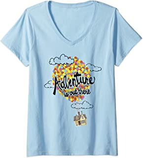 Womens Disney Pixar Up Adventure House Balloon V-Neck T-Shirt