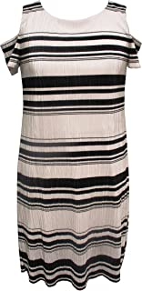 Sandra Darren Women's 1 Pc Petite Cold Shoulder Bodre Knit Printed Striped Shift Dress