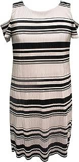 Sandra Darren Women's 1 Pc Petite Cold Shoulder Bodre Knit Printed Striped Shift Dress