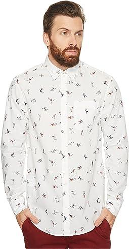 Original Penguin - Long Sleeve Clumsy Skaters Print Stretch Poplin Shirt