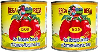San Marzano DOP Authentic Whole Peeled Tomato by Rega, 2 Pack of Giant Food Service Size (90 Ounce Each) Over 10 Pounds Total, Imported From Italy