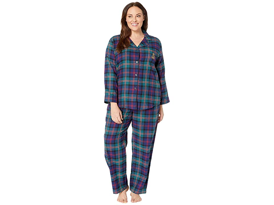 LAUREN Ralph Lauren Plus Size Brushed Twill Long Sleeve Classic Notch Collar Pajama Set (Green Plaid) Women