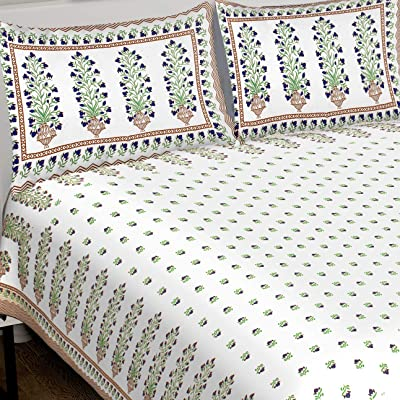 """RHF 100% Cotton King Size Block Printed Double Bed Sheet with 2 Pillow Covers (8 Feet X 9 Feet, 100"""" X 108"""")- Multicolor (King- (8 Feet X 9 Feet, 100"""" X 108""""), Parrot Green-7)"""