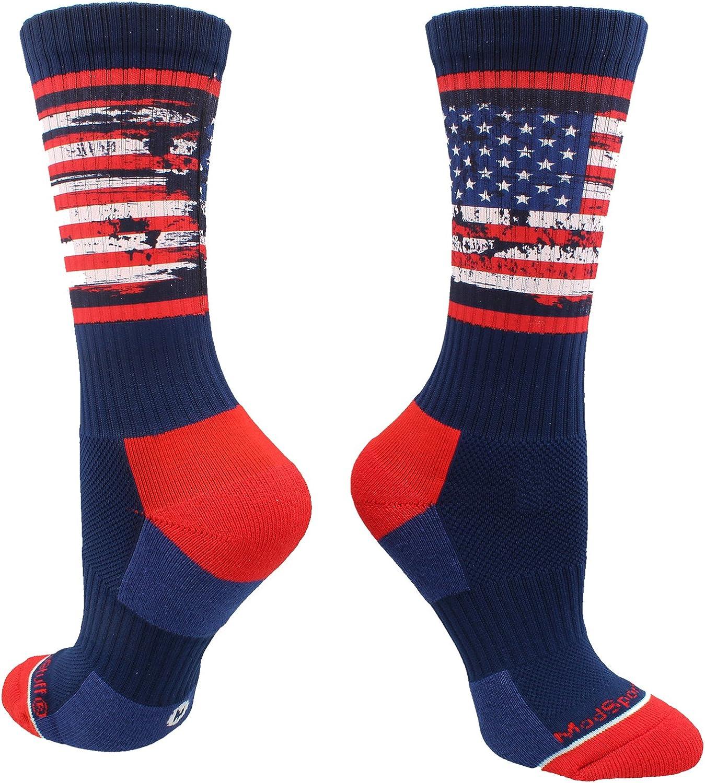 MadSportsStuff Distressed USA Flag Patriotic Athletic Crew Socks