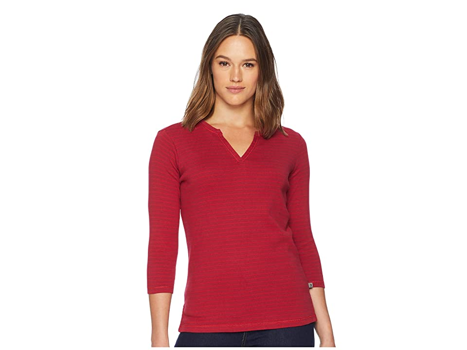 Royal Robbins Kickback Split Henley (Rumba Red Stripe) Women