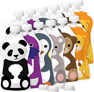 Squooshi Reusable Food Pouches 12-Pack Large 5oz - Baby Food Storage Toddler Kids Squeezable Pouch Washable Freezer Safe - 12 Animal Designs