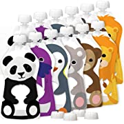 Squooshi Reusable Food Pouches | 12 Pack 5 oz. Size | Baby Food or Toddler Kids Squeeze Pouch