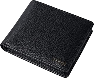 Top Grain Leather Bifold Wallet for Men Multi Card Slots Money Purse Removable ID Credit Card Case Organizer