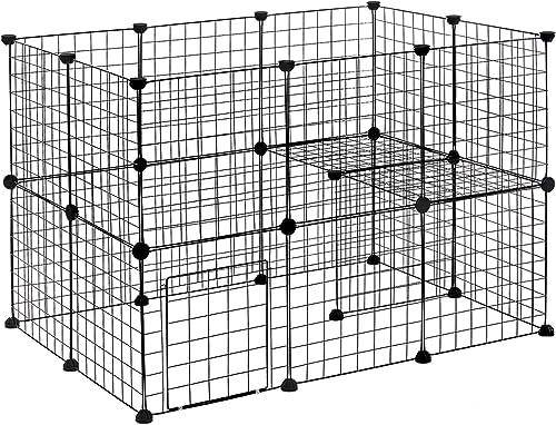 EUGAD Enclos pour Lapin Parc pour Chiot Hamster Rongeur Chat Chaton Petits Animaux Interieur avec Porte métal réglabl...