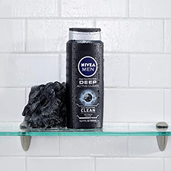 NIVEA Men Active Clean Body Wash, Natural Charcoal, 16.9 Fluid Ounce (Pack of 3)
