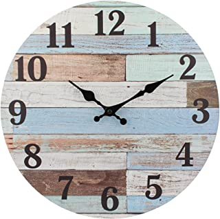Stonebriar Old Fashioned 14 Inch Round Wood Hanging Wall Clock, Battery Operated, Rustic Wall Decor for The Living Room, K...