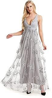 Beauty Kai Women's Sequin V-Neck Prom Bridesmaid Dress Evening Formal Dresses