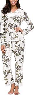طقم بيجامة حريمي من Jusfitsu بأكمام طويلة طقم ملابس نوم شكلي من قطعتين ملابس نوم كاجوال مع دانتيل