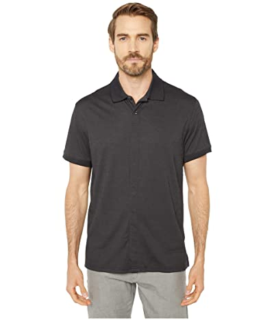 Magna Ready Classic Fit Ribbed Collar Knit Polo (Black) Men