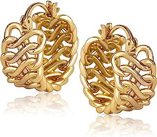 14k Gold Braided Huggie Hoop Earrings for Women   Gold Chunky Hoops   Gold Huggie Earrings for Women   14 karat Gold Hoop ...