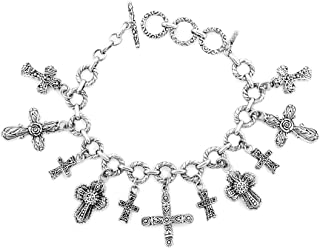 925 Sterling Silver Cross Multi-Charm Pendant Necklace (20