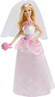 Barbie Bride Doll in White and Pink Dress with Veil and Bouquet CFF37