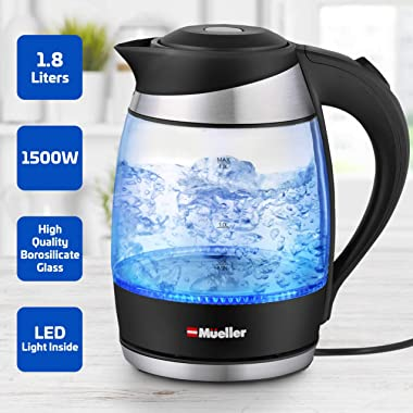 Mueller Ultra Kettle: Model No. M99S 1500W Electric Kettle with SpeedBoil Tech, 1.8 Liter Cordless with LED Light, Borosilica