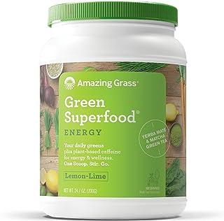 Amazing Grass Energy Green Superfood Organic Powder, Natural Caffeine with Wheat Grass, 7 Greens, Yerba Mate and Matcha Green Tea, Flavor: Lemon Lime, 100 Servings