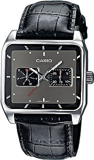 Casio MTF-304L-1AVEF - Reloj analógico unisex de cuarzo con correa de piel negra - sumergible a 50 metros