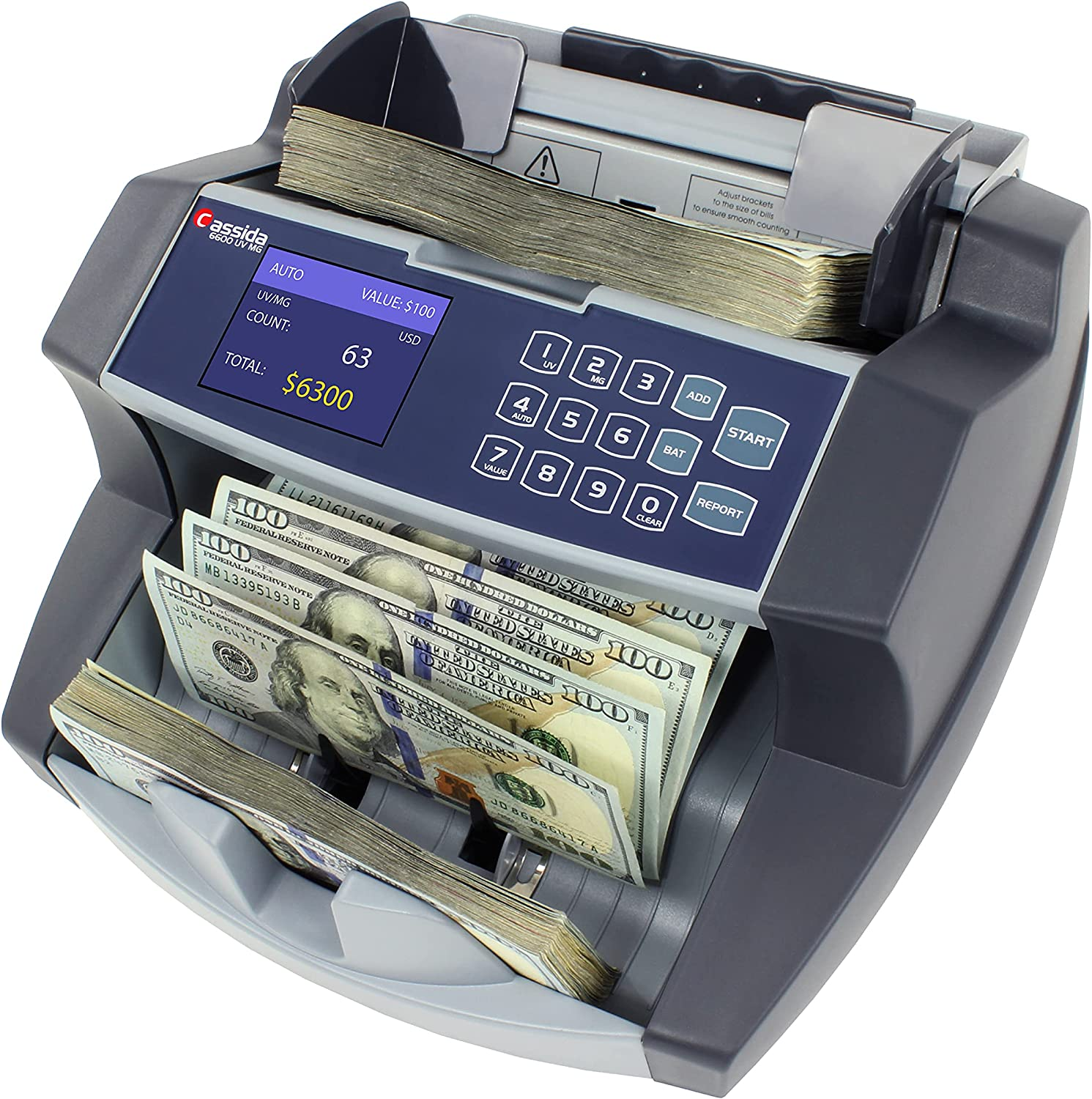 Cassida 6600 UV/MG – USA Business Grade Money Counter with UV/MG/IR Counterfeit Detection – Top Loading Bill Counting Machine w/ ValuCount, Add and Batch Modes – Fast Counting Speed 1,400 Notes/Min : Bill Counters : Office Products