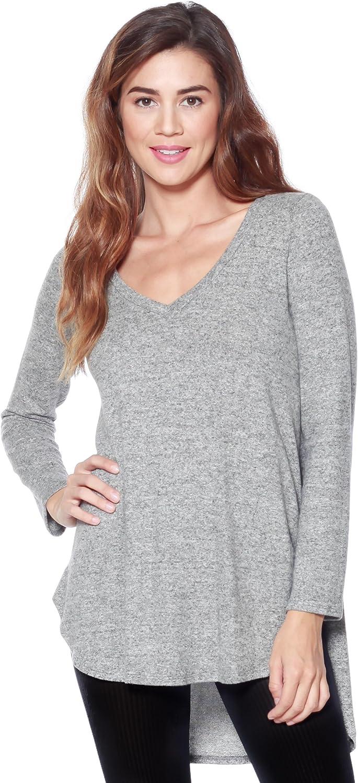 Alexander + David Womens VNeck Long Sleeve Top  Brushed Knit Sweater