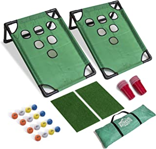 Vulcano Sports Beer Pong Golf Game Set Includes Target Boards, 20 Red Cups, Chipping Mats, 16 Foam Golf Balls, and a Trave...