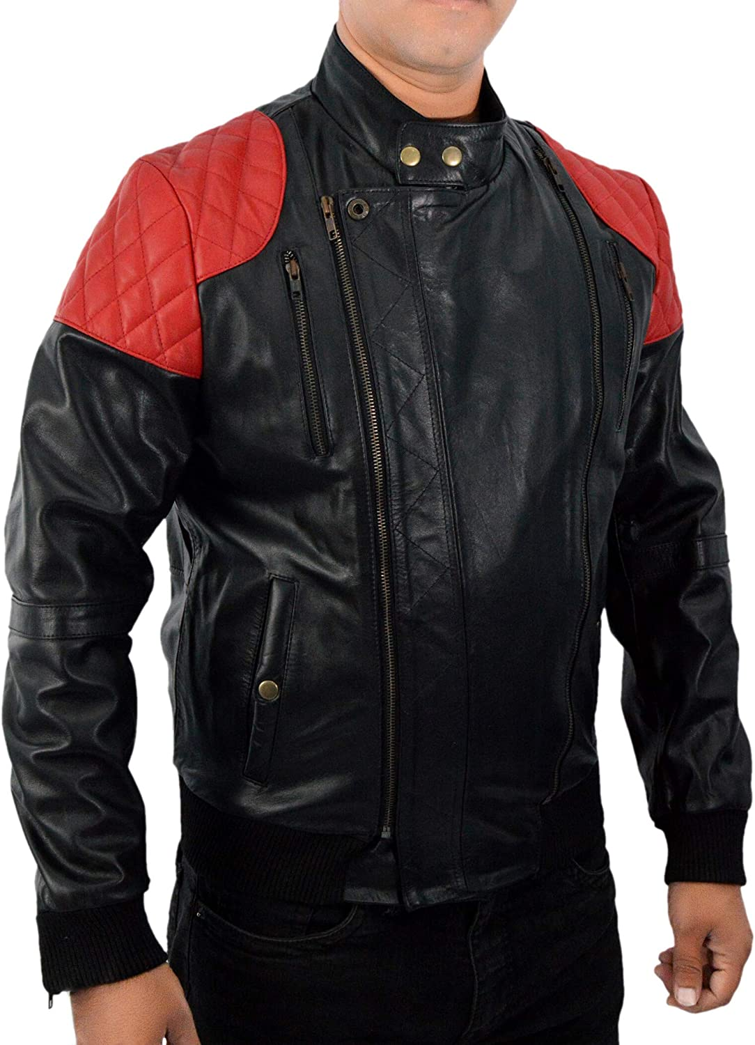 F&H Men's Genuine Leather Kid Cudi Surface to Air Mr Rager Retro Bomber Jacket