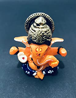 Gavya Resin Small Ganesha Sitting Ganesh Sculpture Murti Ganpati Idol Car Dashboard /Deepawali Puja Statue, mandir , tampl...