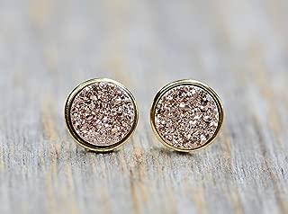 Statement Rose Druzy Stud Earring- Real Drusy Gemstone- Gold- 9.5mm