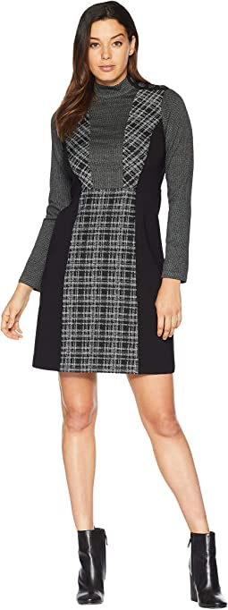 Long Sleeve Glenn Plaid Mix Media Dress