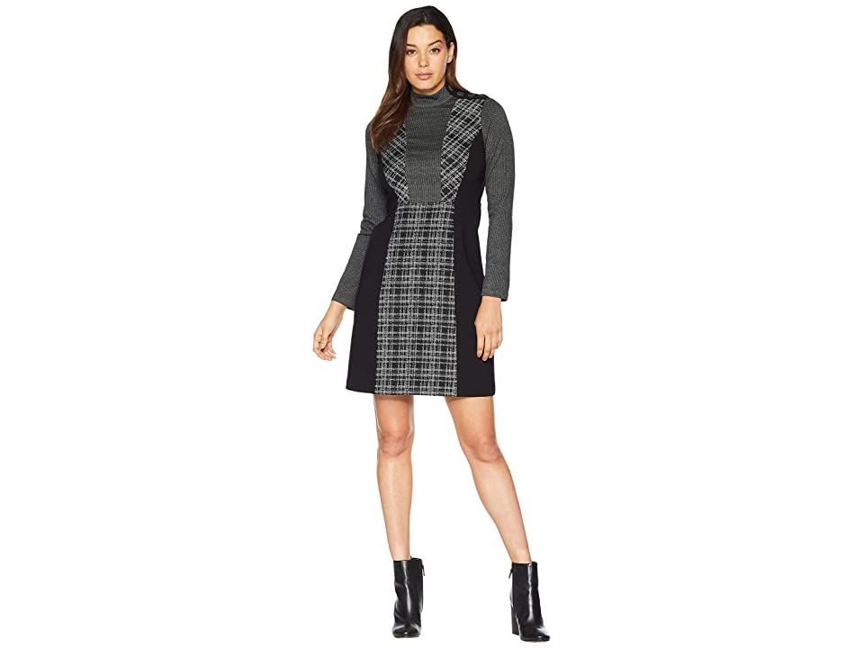 Vince Camuto Long Sleeve Glenn Plaid Mix Media Dress (Rich Black) Women
