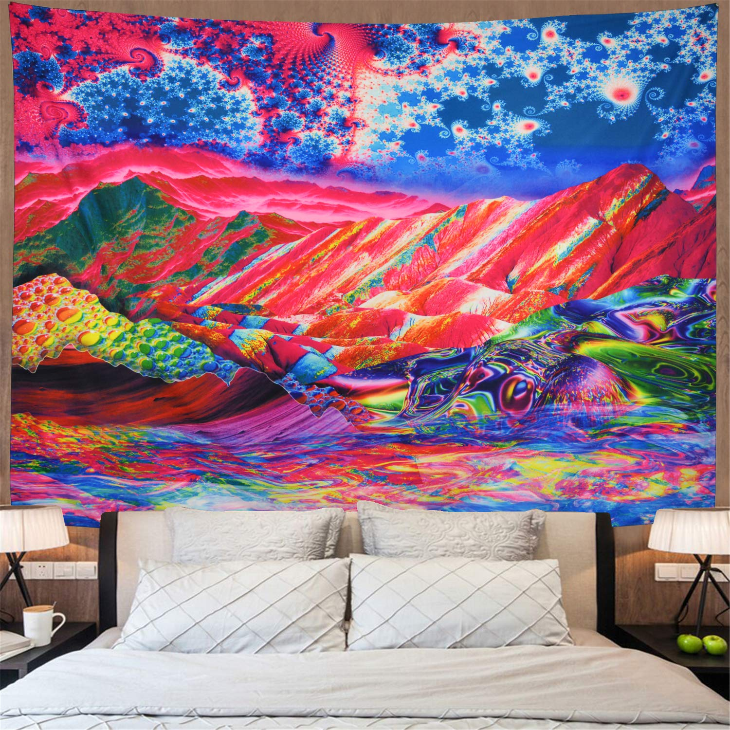 Amonercvita Trippy Mountain Tapestry Colorful Sky And Waves Wall Tapestry Psychedelic Clouds Landscape Tapestry Hippie Tapestry Wall Hanging For Living Room X Large Trippy Volcano Buy Online In Belize At Belize Desertcart Com Productid