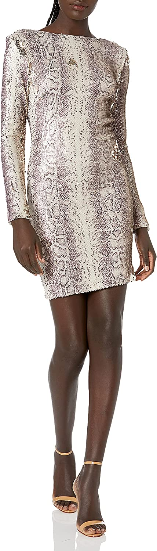 Dress the Population Women's Lola Long Sleeve Sequin Dress, Python Gold Multi, S
