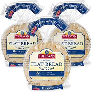 Toufayan Bakery, White Mediterranean Flat Bread for Gyros, Sandwiches, Paninis, Dip and Snacks, Cholesterol Free and No Trans Fats (Hearty White, 3 Pack)