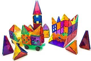 PicassoTiles 180 Piece Set 180pc Building Block Toy Deluxe Construction Kit Magnet Building Tiles Clear Color Magnetic 3D ...