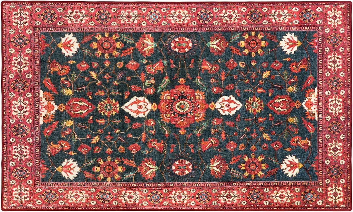 My Magic Carpet Machine Washable Accent Ramage Indigo NEW before selling Boston Mall ☆ Rug 3X5