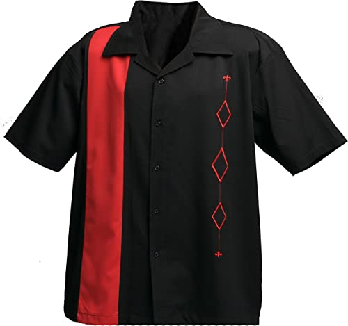Designs by Attila Mens Retro Bowling Shirt, Big & Tall Red & Black